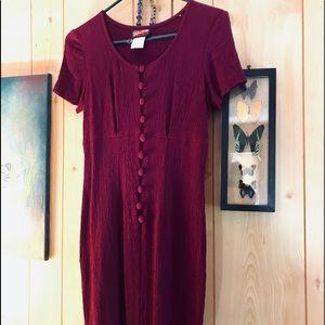 VTG vintage fuchsia button down dress